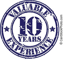 Valuable 10 years of experience rubber stamp, vector...