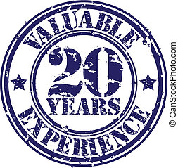 Valuable 20 years of experience rubber stamp, vector...