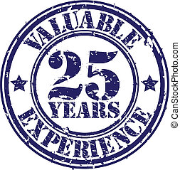 Valuable 25 years of experience rubber stamp, vector...
