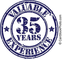 Valuable 35 years of experience rubber stamp, vector...