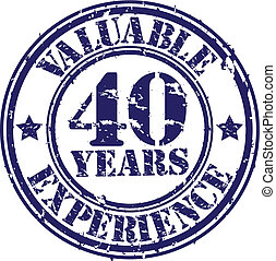 Valuable 40 years of experience rubber stamp, vector...