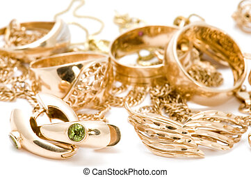 valuable macro - object on white - Rings and ear-rings