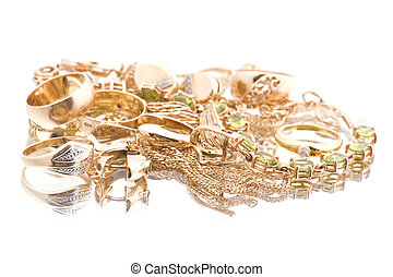 valuable macro on white - object on white - Golden valuable...