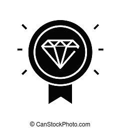 Valuable mark black icon, concept illustration, vector flat symbol, glyph sign.
