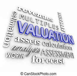 Valuation 3d Word Collage Multiples Revenues Assets Company Business Value