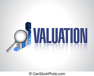 valuation business graph illustration design over a white ...