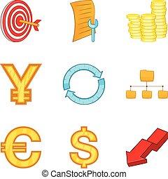 Valuation icons set, cartoon style - Valuation icons set....