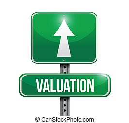 valuation road sign illustration design over a white ...