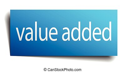 value added blue paper sign isolated on white