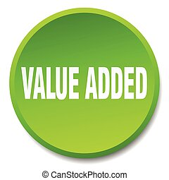 value added green round flat isolated push button