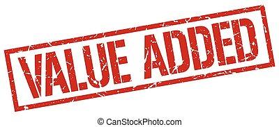 value added red grunge square vintage rubber stamp