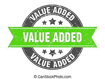 value added round stamp with green ribbon. value added