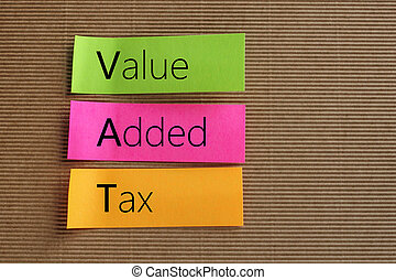 Value Added Tax (VAT) text on colorful sticky notes