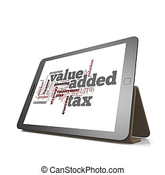 Value added tax word cloud on tablet