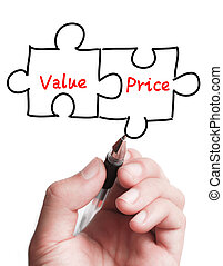 Value And Price Puzzle Concept