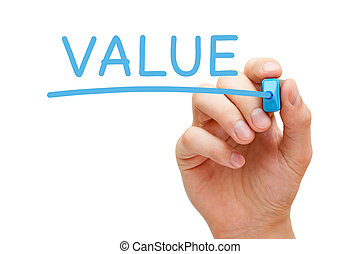 Value Blue Marker - Hand writing Value with blue marker on...