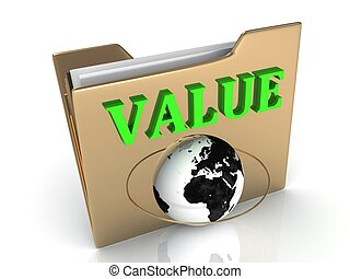 VALUE bright green letters on a golden folder