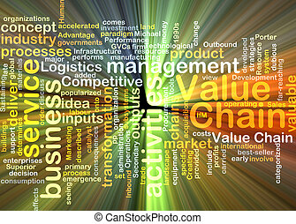 value chain wordcloud concept illustration glowing