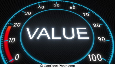 Value futuristic meter or indicator. Conceptual 3D animation...