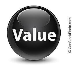 Value glassy black round button