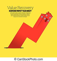 Value Recovery - Vector illustration of a red house arrow...
