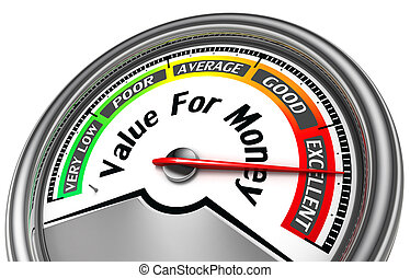 value rof money conceptual meter indicate excellent, isolated on white background