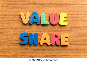 value share colorful word on the wooden background