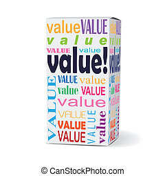 value word on product box with related phrases