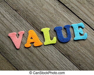 value word on wooden background