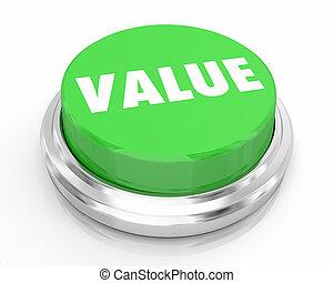 Value Worth Asset Price Valuation Green Button 3d Illustration