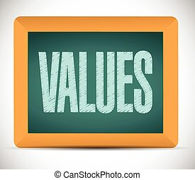 values board sign illustration design
