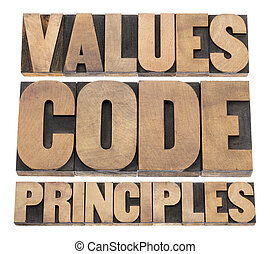 values, code, principles words - a collage of isolated text ...