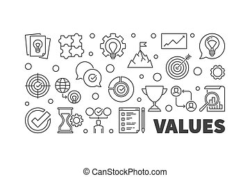Values concept horizontal outline banner. Vector illustration