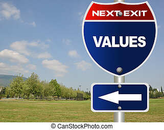 Values road sign