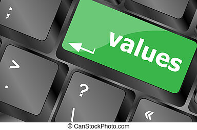Values sign button on keyboard with soft focus