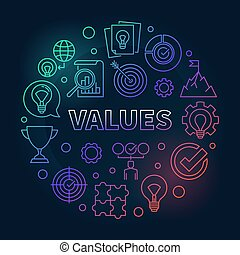Values vector round concept colored outline illustration