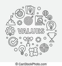 Values vector round concept outline illustration