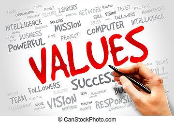VALUES word cloud, business concept