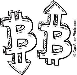 valuta, bitcoin, skiss, värdera