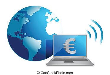 valuta, concept, eurobiljet, online