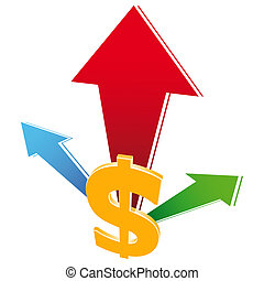 valuta, crescita, icona