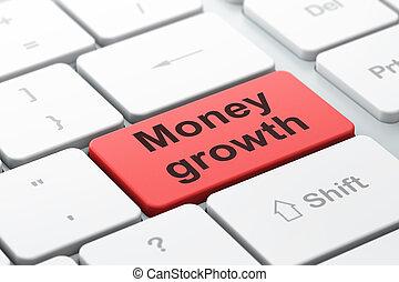 valuta denaro, computer, crescita, fondo, tastiera, concept: