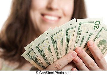 valuta, dollar, hand