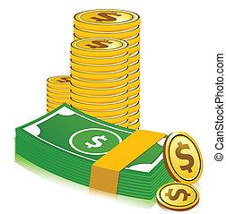 valuta, dollar, stapel
