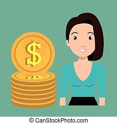 valuta, donna, dollaro, soldi