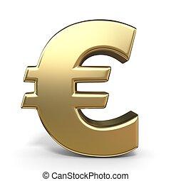valuta, dorato, simbolo, 3d, euro