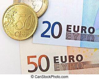valuta euro, banknotes, og, mønter