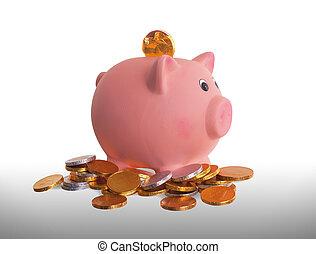 valuta euro, chokolade, mønter, hos, piggy bank
