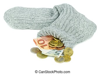 valuta euro, ind, en, gamle, sokke