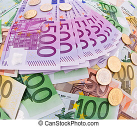 valuta, eurobiljet, collage